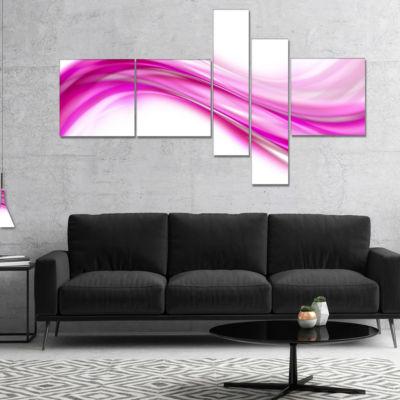 Designart Pink Abstract Waves Multipanel AbstractCanvas Art Print - 5 Panels