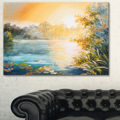 Designart Sunset On The Lake Landscape Art PrintCanvas - 3 Panels