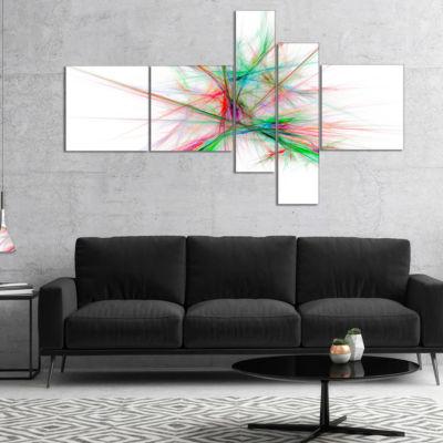 Designart Blue Red Spectrum Of Light Multipanel Abstract Canvas Art Print - 4 Panels