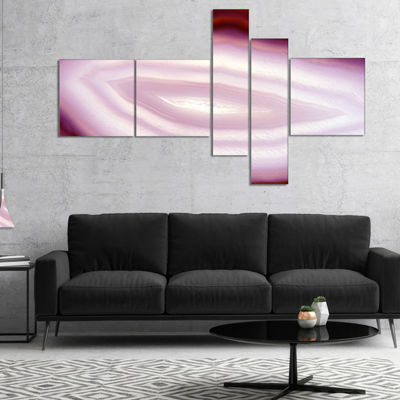 Designart Pink Agate Geode Geological Crystals Multipanel Abstract Canvas Artwork - 5 Panels