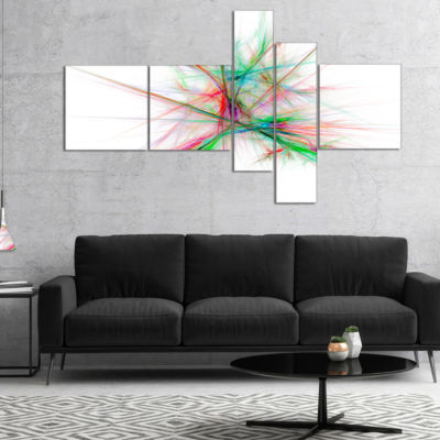 Designart Blue Red Spectrum Of Light Multipanel Abstract Canvas Art Print - 5 Panels