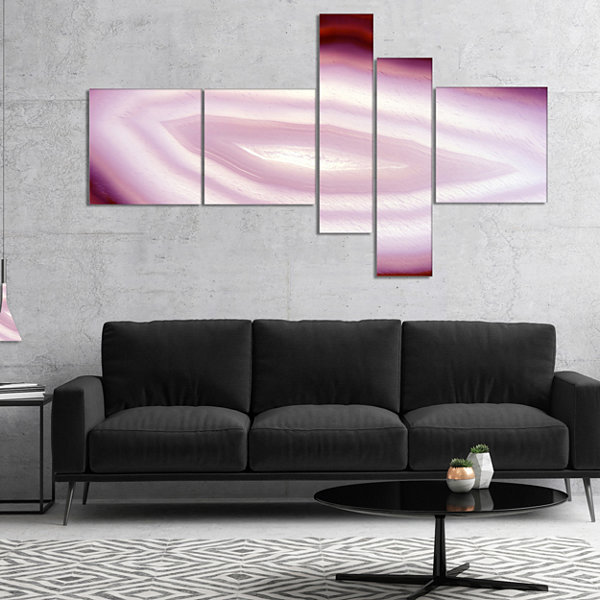 Designart Pink Agate Geode Geological Crystals Multipanel Large Abstract Canvas Artwork - 4 Panels