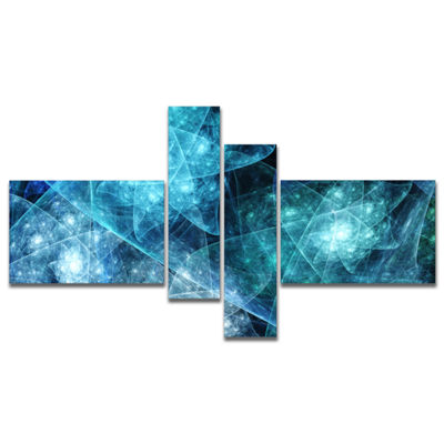Designart Blue Rotating Polyhedron Multipanel Abstract Canvas Art Print - 4 Panels