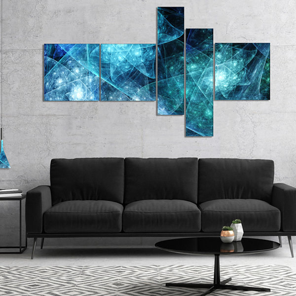 Designart Blue Rotating Polyhedron Multipanel Abstract Canvas Art Print - 5 Panels