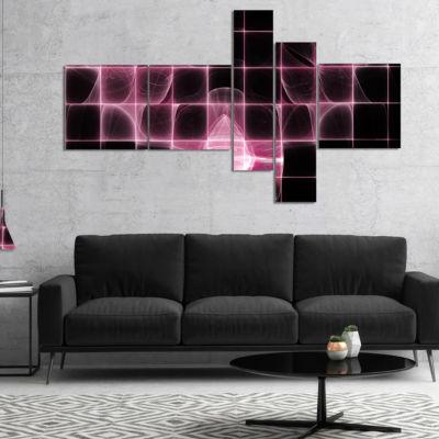 Designart Pink Bat Outline On Radar Multipanel Abstract Canvas Art Print - 5 Panels