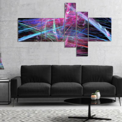 Designart Pink Blue Magical Fractal Pattern Multipanel Abstract Canvas Wall Art - 4 Panels