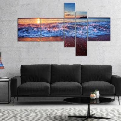 Designart Blue Sea Waves During Sunset MultipanelSeashore Canvas Art Print - 5 Panels