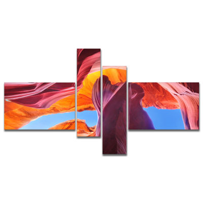 Designart Blue Sky In Antelope Canyon MultipanelLandscape Photography Canvas Print - 4 Panels