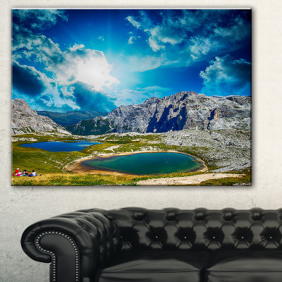 Designart Sunset Over Alpine Lakes Landscape Photography Canvas Print - 3 Panels