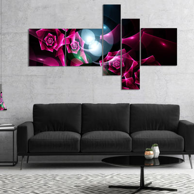 Designart Pink Bouquet Of Beautiful Roses Multipanel Abstract Canvas Art Print - 4 Panels