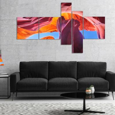 Designart Blue Sky In Antelope Canyon MultipanelLandscape Photography Canvas Print - 5 Panels
