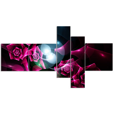 Designart Pink Bouquet Of Beautiful Roses Multipanel Abstract Canvas Art Print - 5 Panels