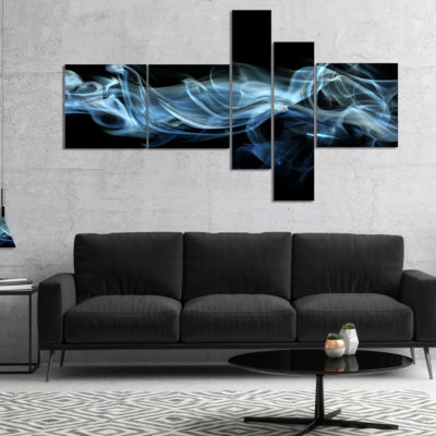 Designart Blue Smoke In Black Multipanel AbstractCanvas Art Print - 4 Panels