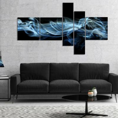 Designart Blue Smoke In Black Multipanel AbstractCanvas Art Print - 5 Panels