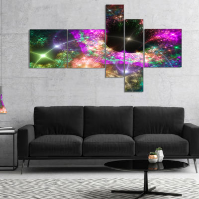 Design Art Pink Cosmic Black Hole Multipanel Abstract Art On Canvas - 5 Panels
