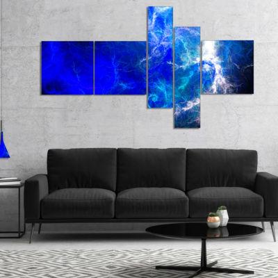Designart Blue Sparkling Lightning Multipanel Abstract Canvas Art Print - 4 Panels