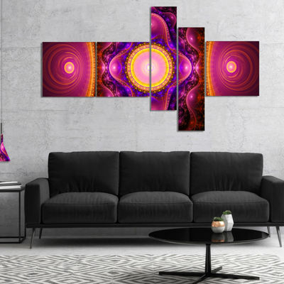 Designart Pink Cryptical Fractal Design MultipanelAbstract Wall Art Canvas - 4 Panels