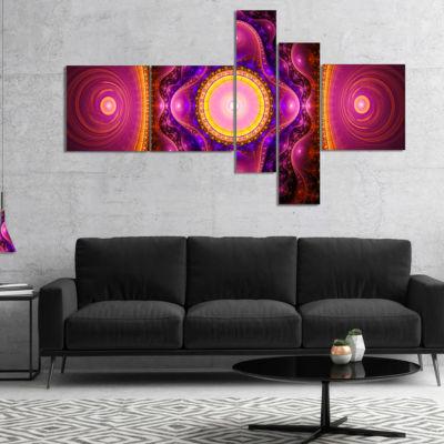 Designart Pink Cryptical Fractal Design MultipanelAbstract Wall Art Canvas - 5 Panels