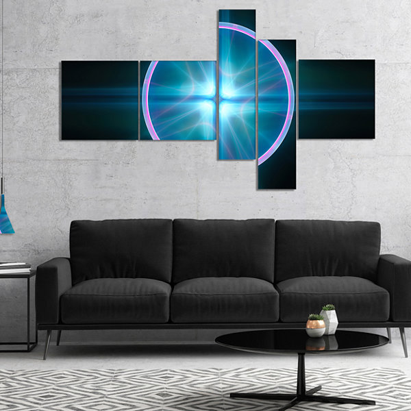 Designart Blue Sphere Of Cosmic Mind Multipanel Abstract Canvas Art Print - 4 Panels