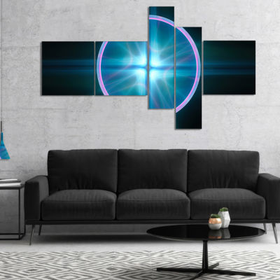Designart Blue Sphere Of Cosmic Mind Multipanel Abstract Canvas Art Print - 5 Panels