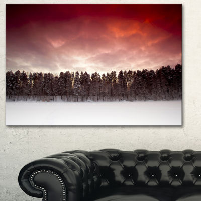 Designart Sunset Over Frozen Lake Landscape Photography Canvas Print