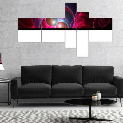 Designart Pink Curly Spiral On Black Multipanel Abstract Wall Art Canvas - 5 Panels