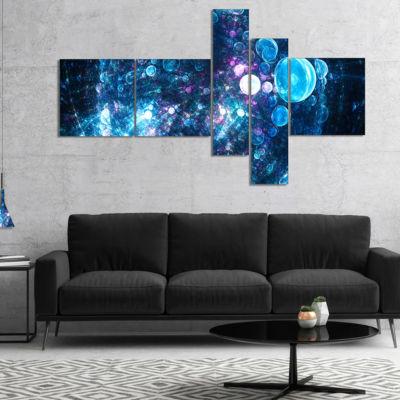 Designart Blue Spherical Planet Bubbles MultipanelAbstract Canvas Art Print - 5 Panels