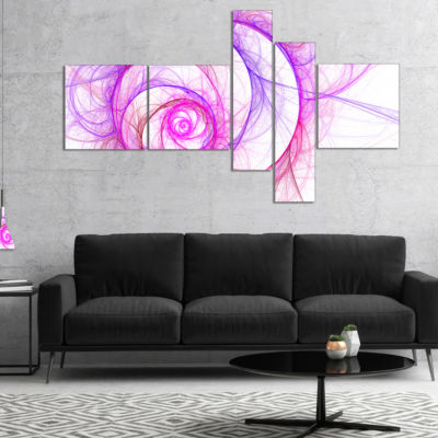 Designart Pink Exotic Flower Pattern Multipanel Floral Art Canvas Print - 5 Panels