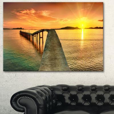 Designart Sunset Over Pier Panorama Photography Canvas Art Print