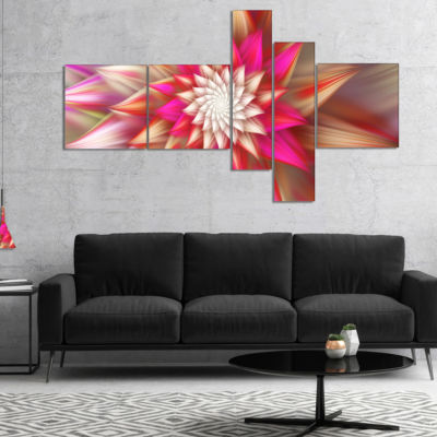 Designart Pink Exotic Fractal Flower Multipanel Abstract Canvas Art Print - 4 Panels