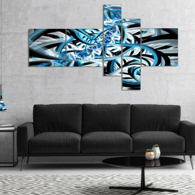 Designart Blue Spiral Fractal Design Multipanel Abstract Canvas Art Print - 5 Panels