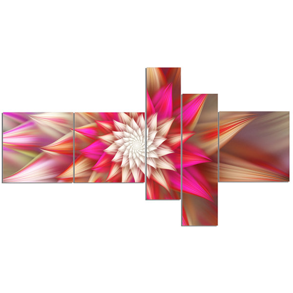 Designart Pink Exotic Fractal Flower Multipanel Abstract Canvas Art Print - 5 Panels