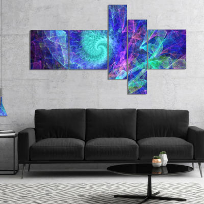 Designart Blue Spiral Kaleidoscope Multipanel Abstract Wall Art Canvas - 4 Panels