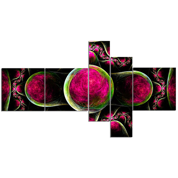 Designart Pink Exotic Fractal Pattern MultipanelAbstract Art On Canvas - 5 Panels