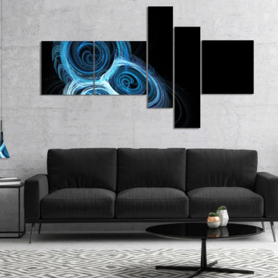 Designart Blue Spiral Nebula On Black MultipanelAbstract Wall Art Canvas - 5 Panels