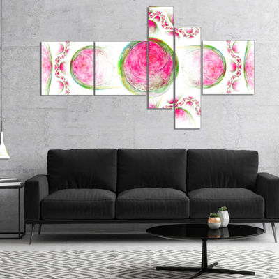 Designart Pink Exotic Pattern On White MultipanelAbstract Art On Canvas - 5 Panels