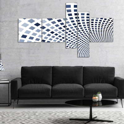 Designart Blue Square Pixel Mosaic Illustration Multipanel Abstract Wall Art Canvas - 4 Panels