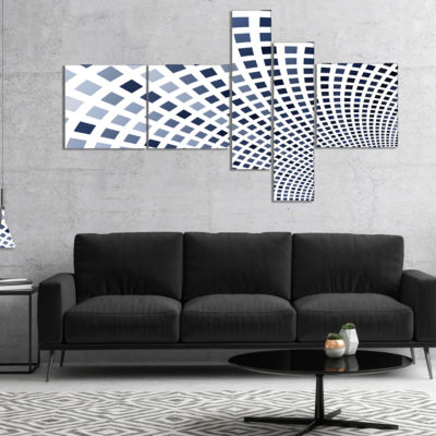 Designart Blue Square Pixel Mosaic Illustration Multipanel Abstract Wall Art Canvas - 5 Panels