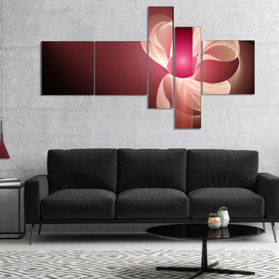 Designart Pink Flower Fractal Illustration Multipanel Abstract Canvas Art Print - 5 Panels