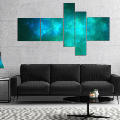 Designart Blue Starry Fractal Sky Multipanel Abstract Canvas Art Print - 4 Panels