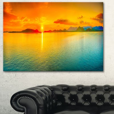 Designart Sunset Over Sea Panorama Seascape Photography Canvas Art Print - 3 Panels