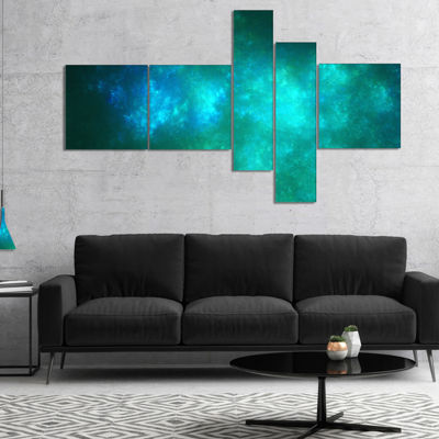 Designart Blue Starry Fractal Sky Multipanel Abstract Canvas Art Print - 5 Panels