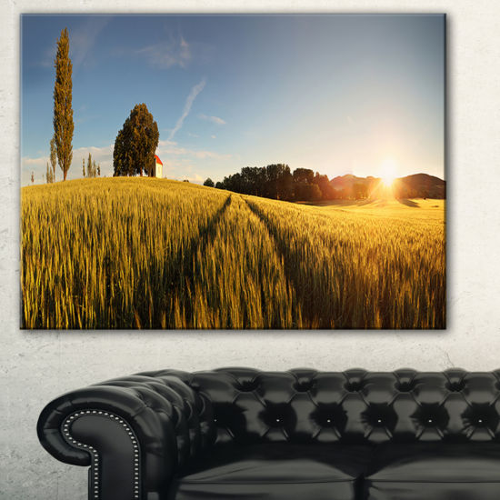 Designart Sunset Over Wheat Field In Slovakia Photography Canvas Art Print
