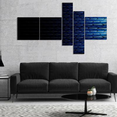 Designart Blue Symmetrical Fractal Flower Multipanel Abstract Canvas Art Print - 4 Panels