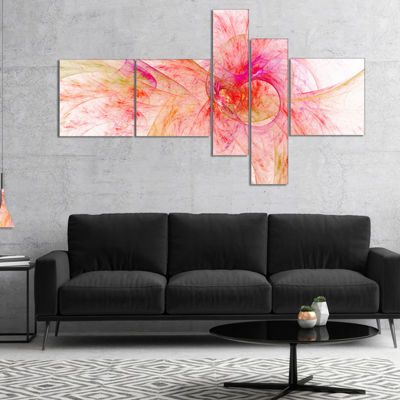 Designart Pink Fractal Abstract Illustration Multipanel Abstract Canvas Art Print - 4 Panels