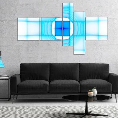 Designart Blue Thermal Infrared Visor MultipanelAbstract Canvas Art Print - 4 Panels