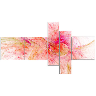 Designart Pink Fractal Abstract Illustration Multipanel Abstract Canvas Art Print - 5 Panels