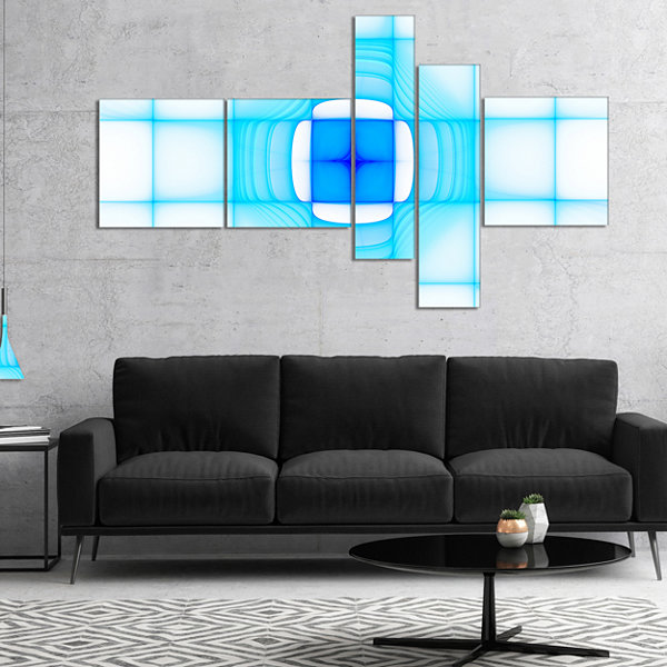 Designart Blue Thermal Infrared Visor MultipanelAbstract Canvas Art Print - 5 Panels