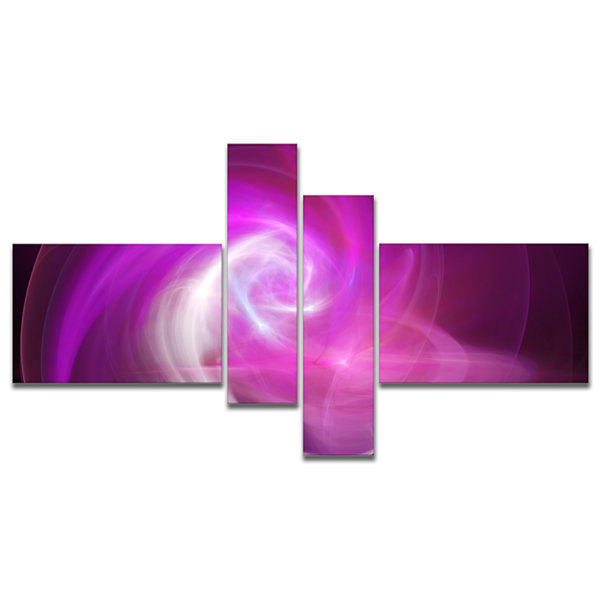 Designart Pink Fractal Abstract Illustration Multipanel Abstract Canvas Wall Art - 4 Panels