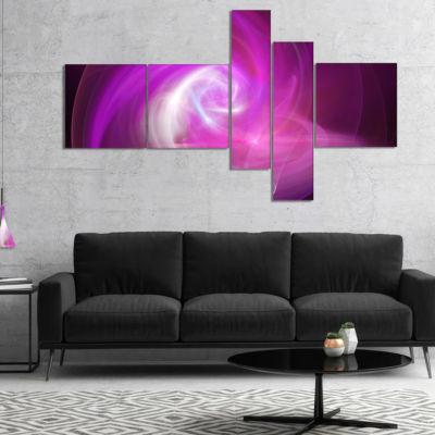 Designart Pink Fractal Abstract Illustration Multipanel Abstract Canvas Wall Art - 5 Panels